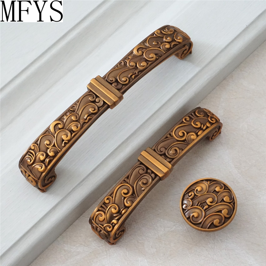 3.75 5 Antique Brass Dresser Drawer Pulls Handles Knobs Cabinet Pulls Knob Retro Kitchen Furniture Hardware Handles 96 128 MM цена