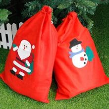 Behogar Merry Christmas Non-woven Candy Gift Drawstring Bag Storage Box for Home