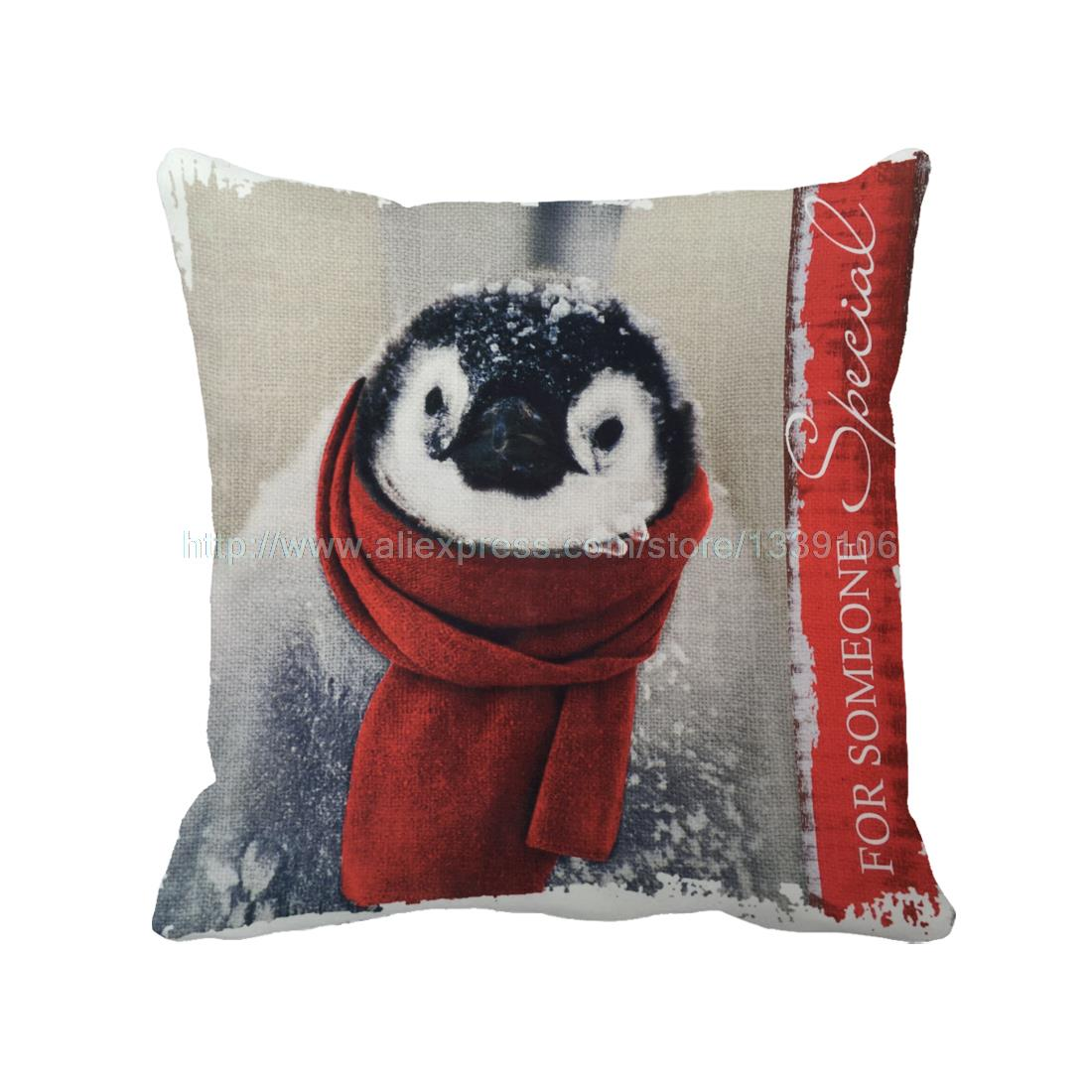 Christmas Cute Joyous Penguin Throw Pillow Custom Decorative Pillows Almofada Luxury Sofa Chair Cushion Home Decor Cojin Coussin