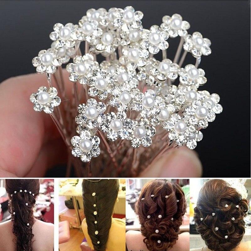 20 Pcs Fashion Crystal Pearl Wedding Hair Pins Flower Bridal pins Bridesmaid Clips Accessories For Women Barrettes