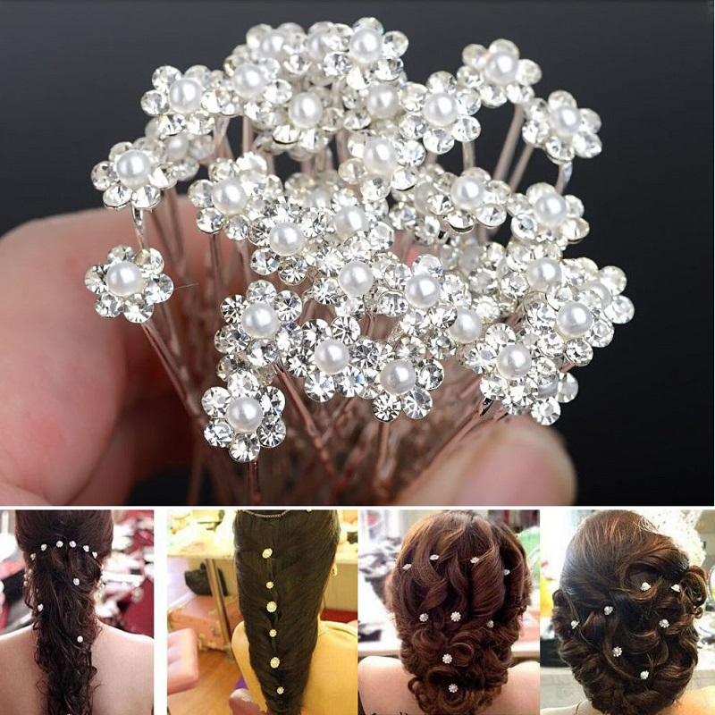 20Pcs Fashion Crystal Pearl Wedding Hair Pins Flower Bridal Pins Bridesmaid  Clips  Accessories For Women Barrettes