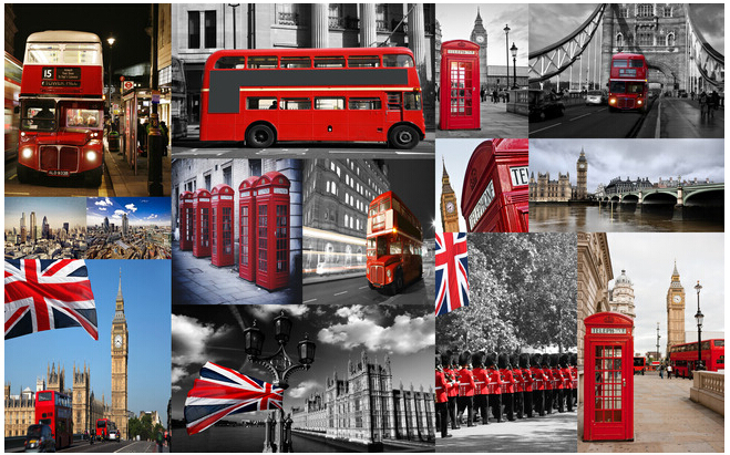 Custom Retro Wallpaper Mural Red London Bus Telephone Booth For The
