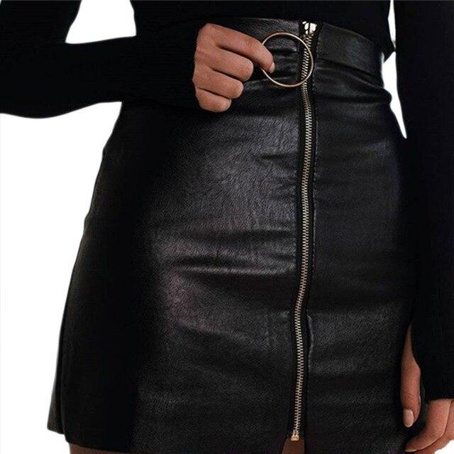 Women PU Leather Skirts Women Sexy Short Black High Waist O Ring Zipper Design Pencil Skirt