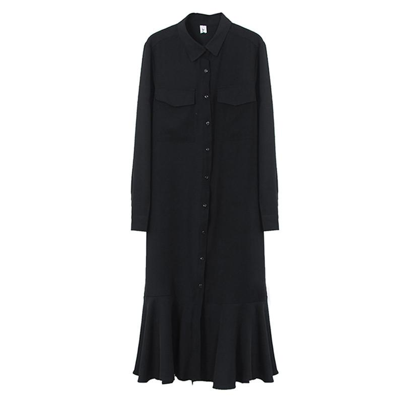 Простое весенне осеннее платье, рубашка с длинным рукавом, однобортное женское платье, женское свободное повседневное однотонное платье с ... - 6