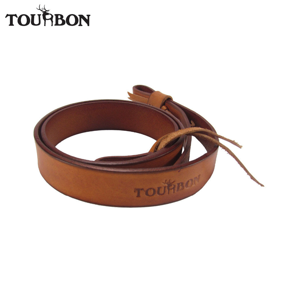 Tourbon Dual Point Gun Strap Leather Belt Shotgun Slings Rifle Shoulder Strap Hunting Gun Accessories 92cm tourbon tactical rifle gun sling with swivels shotgun carrying shoulder strap black genuine leather belt length adjustable
