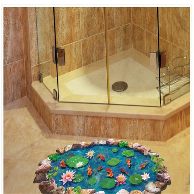 € 3.81 |E5 2017 diy stickers muraux muraux adesivo de paredefishponds 3d  salle de bains stickers muraux anti slip lotus poisson rouge étanche décor  ...