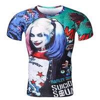 European American Movie Suicide Squads Protagonist 3 D Printing Short Sleeve Tight T Shirt Men Women