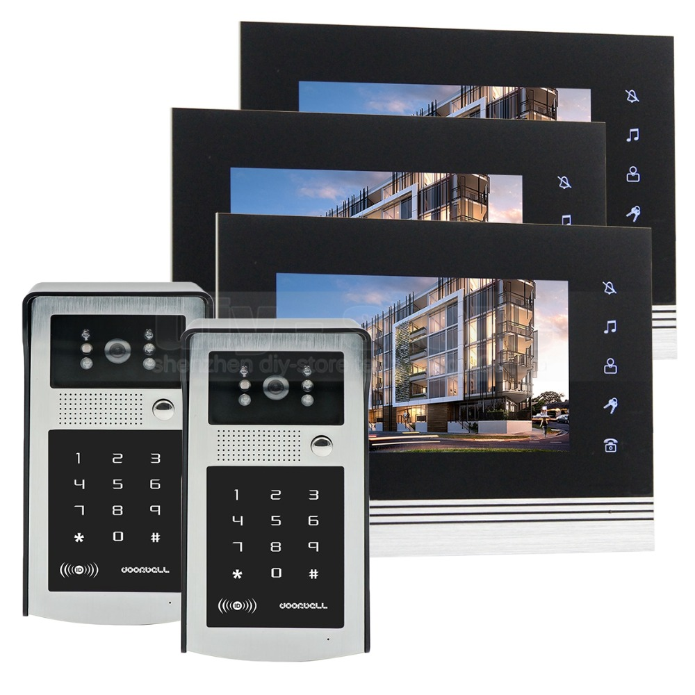 DIYSECUR 7 inch Touch Button Video Door Phone Intercom Doorbell IR Night Vision HD 300000 Pixels RFID Keypad Camera 2V3