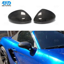 718 LHD Carbon Mirror Cover For Porsche Side RearView mirror case Add on style glossy black finish 2016 2017 2018