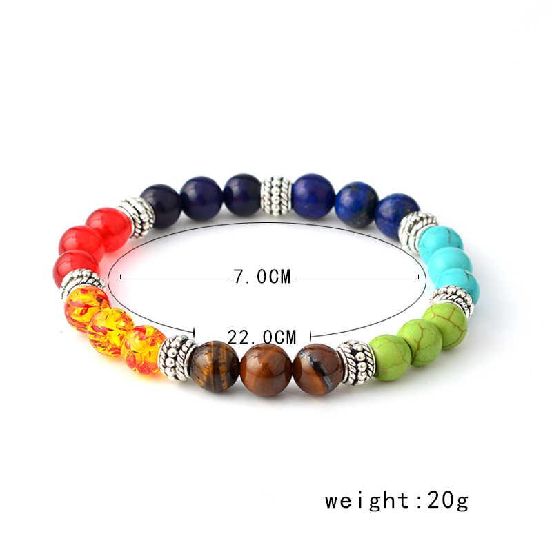 ניו צבעים 7 יוגה צ 'אקרה ריפוי חרוזים צמיד איזון אנרגיית חיים צמיד אבן טבעית תכשיטים מזדמנים גברים נשים