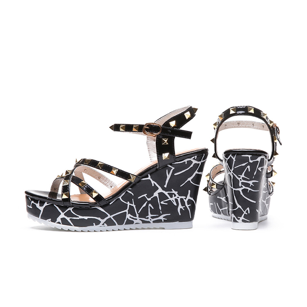Zapatos Mujer 2018 Shoes Woman Sandals Wedge Summer Lady Fashion High Heels Sandals Elegant Rivets Women Shoes Platform Wedges 16