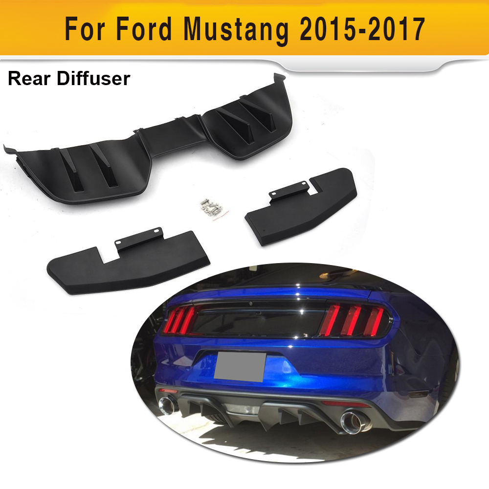 For Mustang Car Rear Bumper Diffuser Lip Spoiler For Ford Mustang Coupe 2015 2017 Car Auto Sport Accessories