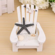 Hot 1PC Wood Decoration Mediterranean Style Wooden mini Beach chair Nautical Decor Home Decor prop wedding decoration(China)