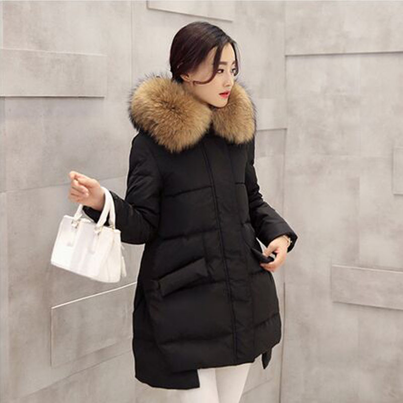 Large Real Natural Raccoon Fur 2017 High Quality New Fashion Winter Jacket Coat Women Hooded Down Parka Female Jacket Outwear new fashion winter jacket women 2017 large real natural raccoon fur collar hooded jacket thick coat for women outwear down parka