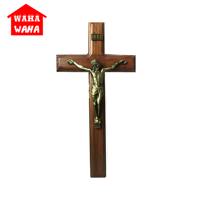 40 20cm Wall Hanging Wooden Bronze Cross Crucifix Christ Antique Silver Finish On