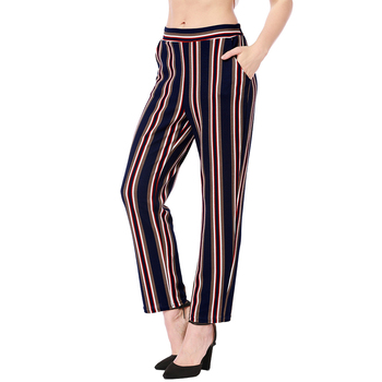 *Pocket Vertical Striped Trousers Women Slim Pants Summer Pants Fashion High Elastic Waist Straight Casual Trouser Black Blue* фото