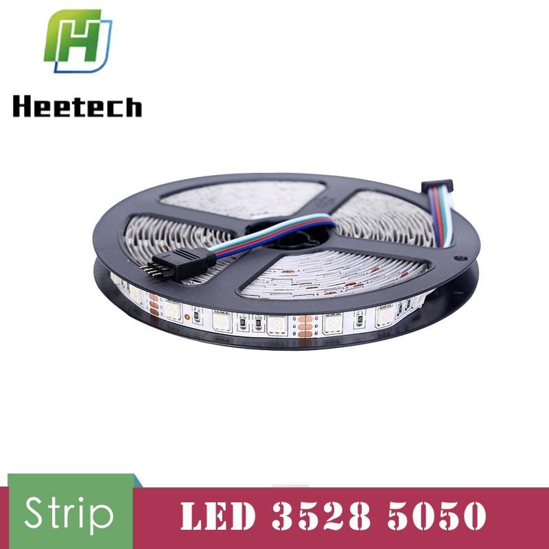 5M Waterproof 12v Led Strip Light IP20 3528 5050 60Leds/M RGB Flexible Lighting Home Decoration Ribbon Tape Luz Monochrome