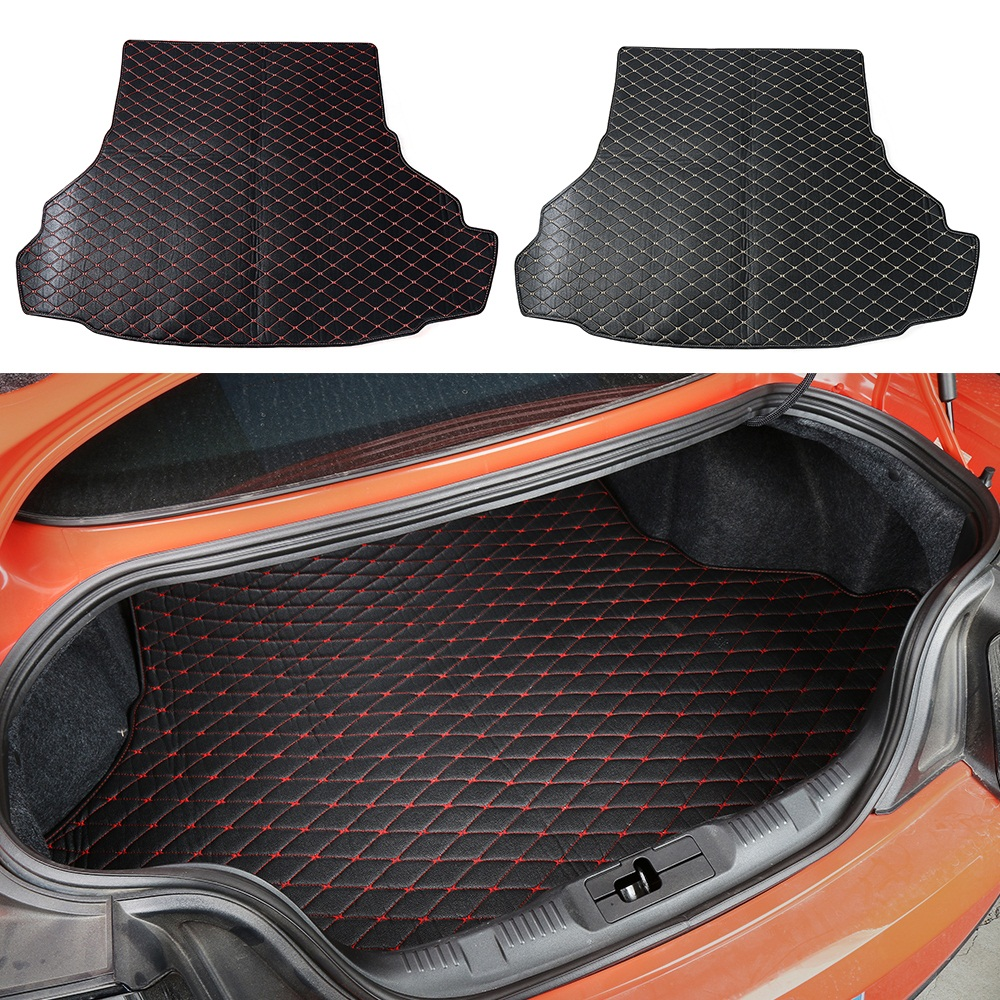 HANGUP Leather Car Trunk Cargo Liner Foot Mats Pad Interior Decoration Stickers For Ford Mustang 2015 Up Car Styling custom cargo liner car trunk mat carpet interior leather mats pad car styling for dodge journey jc fiat freemont 2009 2017