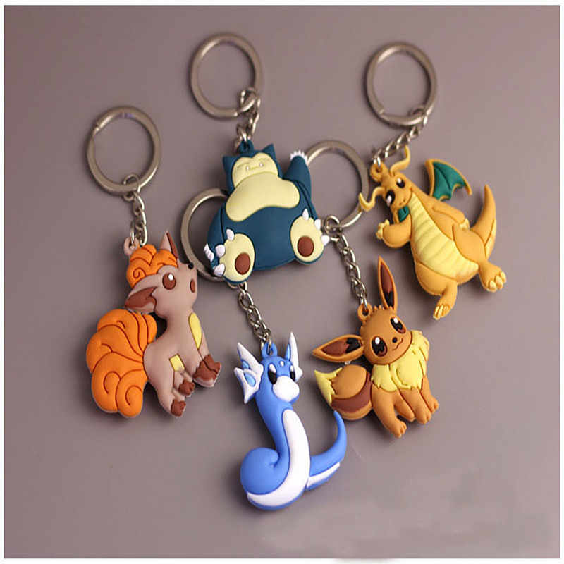 Hot Selling Diy Handmade Keyfob Pikachu Keychains Poket Masters 3D Mini Pokemon Llaveros Chaveiro Japan Cartoon Children Gift