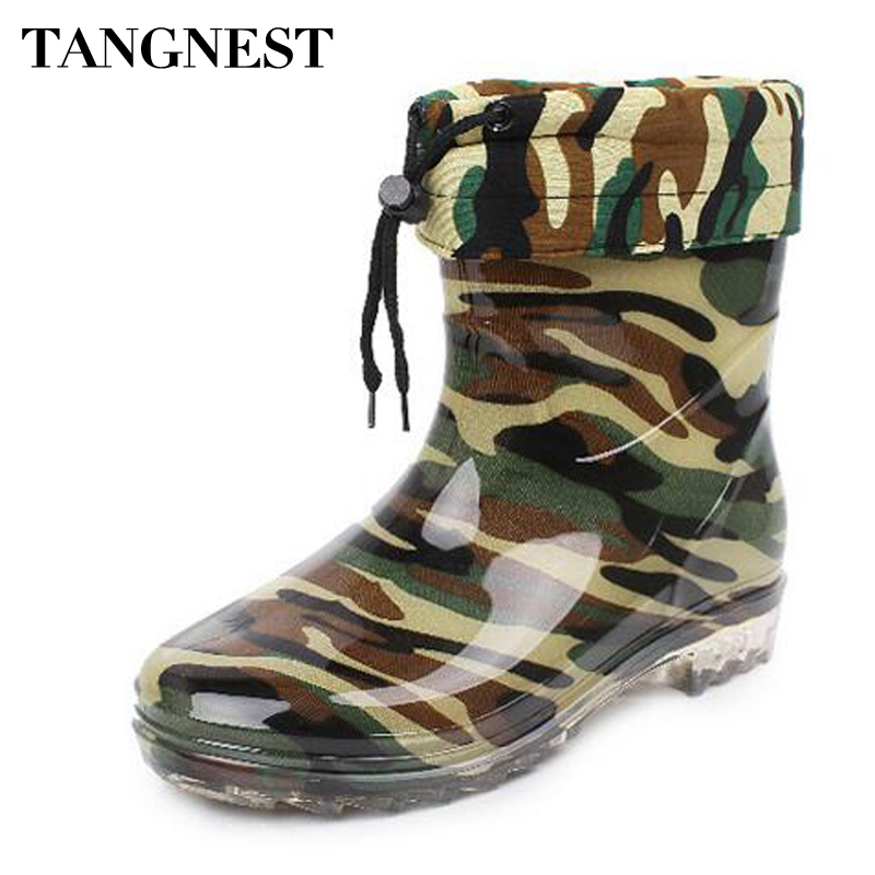 Tangnest Man's Boots Camouflage Warm Wool Mid-Calf Rain Boots Man High Quality Rubber Boots Men Platform Non-slip Shoes XMX573 double buckle cross straps mid calf boots