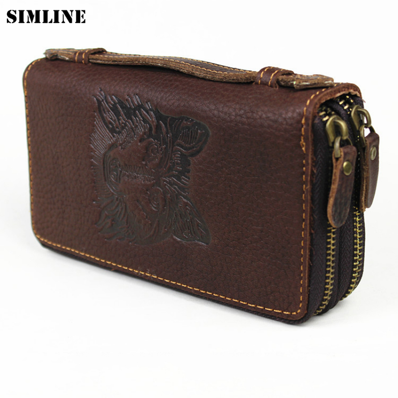 SIMLINE Vintage Genuine Cow Leather Cowhide Mens Men Long Double Zipper Wallet Purse Wallets Card Holder Clutch Bag Bags For Man цена и фото