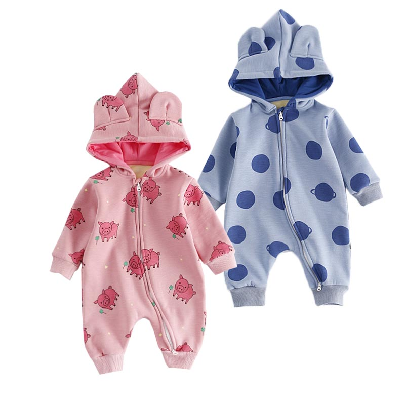 New Fashion Baby Cotton Hooded Romper Winter Warm Baby Romper Thick Fleece One piece Newbron Jumpsuit