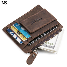 MS Heren Crazy Horse Lederen Rits Munt Portemonnee Business Casual Credit Card ID Houder Met Sterke Magneet Geld Clips K371