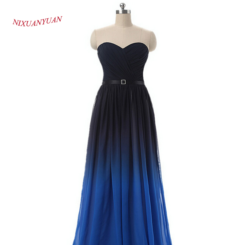 NIXUANYUAN Chiffon Long Party Dress 2017 Sweetheart A Line Prom Kjole - Spesielle anledninger kjoler - Bilde 2