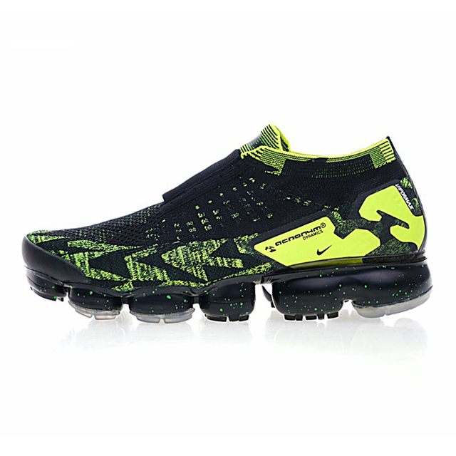 "Nike Air Vapormax FK Moc 2 ""Acronym"" Men's Running Shoes,Black & Green, Non-slip Breathable, Outdoor Sneakers Shoes AQ0996 007"