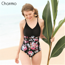Charmo Womens One Piece Swimsuit Hollow out Monokini Swimwear Vintage Floral Print Bandaged Bathing Suit Sexy