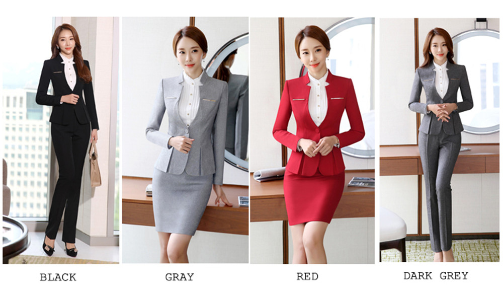 Formal Pant Suits Women Office Lady 2 Piece Set Pants Blazer Female Business Work Trousers Jacket Elegant Uniform Plus Size 2020