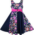 Sunny Fashion Girls Dress Asymmetric Flower Bow Tie Sleeveless Dark Blue 2016 Summer Princess Wedding Party Dresses Size 7-14