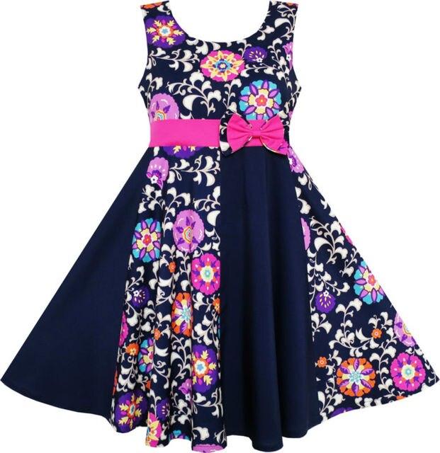Sunny Fashion Girls Dress Asymmetric Flower Bow Tie Sleeveless Dark Blue 2016 Summer Princess Wedding Party Dresses Size 7-14