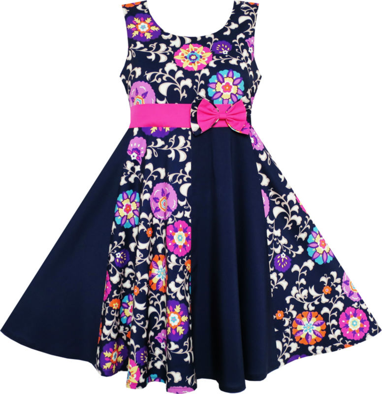 Sunny Fashion Girls Dress Asymmetric Flower Bow Tie Sleeveless Dark Blue 2017 Summer Princess Wedding Party