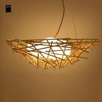 56 см плетеная из ротанга Птичье гнездо абажур 3 Матовый Стекло яйцо подвесной светильник японский Книги по искусству декоративные лампы E27 л