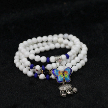 Lovely white shell 6mm round 108 beads with butterfly&purple shell flower pendants jewelry bracelet B971