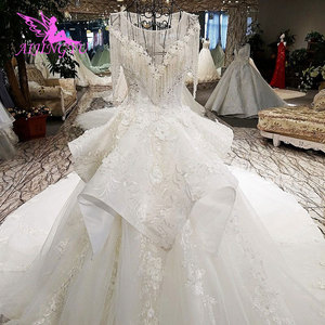 Image 2 - AIJINGYU לפרוע חתונה רומנטית שמלות כלה שמלת למכירה בריטניה ארוך שרוול סוז לבן פשוט שמלת תחרה חתונה שמלת יצרנית