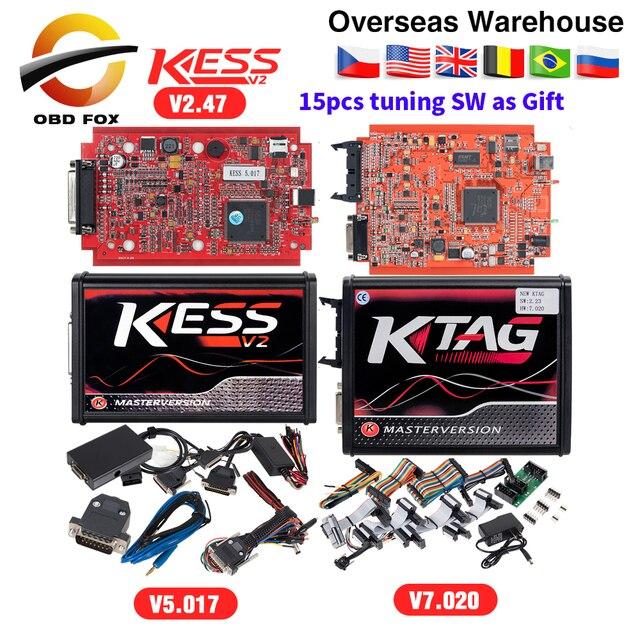 קס V2 V5.017 באינטרנט V2.47 האיחוד האירופי אדום OBD2 מנהל כוונון ערכת KTAG V7.020 4 LED מאסטר גרסה K-תג v2.25 BDM ECU מתכנת