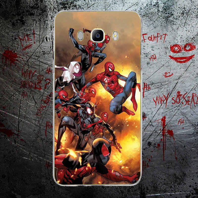 Мода Человек-паук супергероев Marvel Мягкие силиконовые корпусов мобильных телефонов для Samsung Galaxy J1 J2 J3 J5 J7 A3 A5 A7 2016 2017 Shell