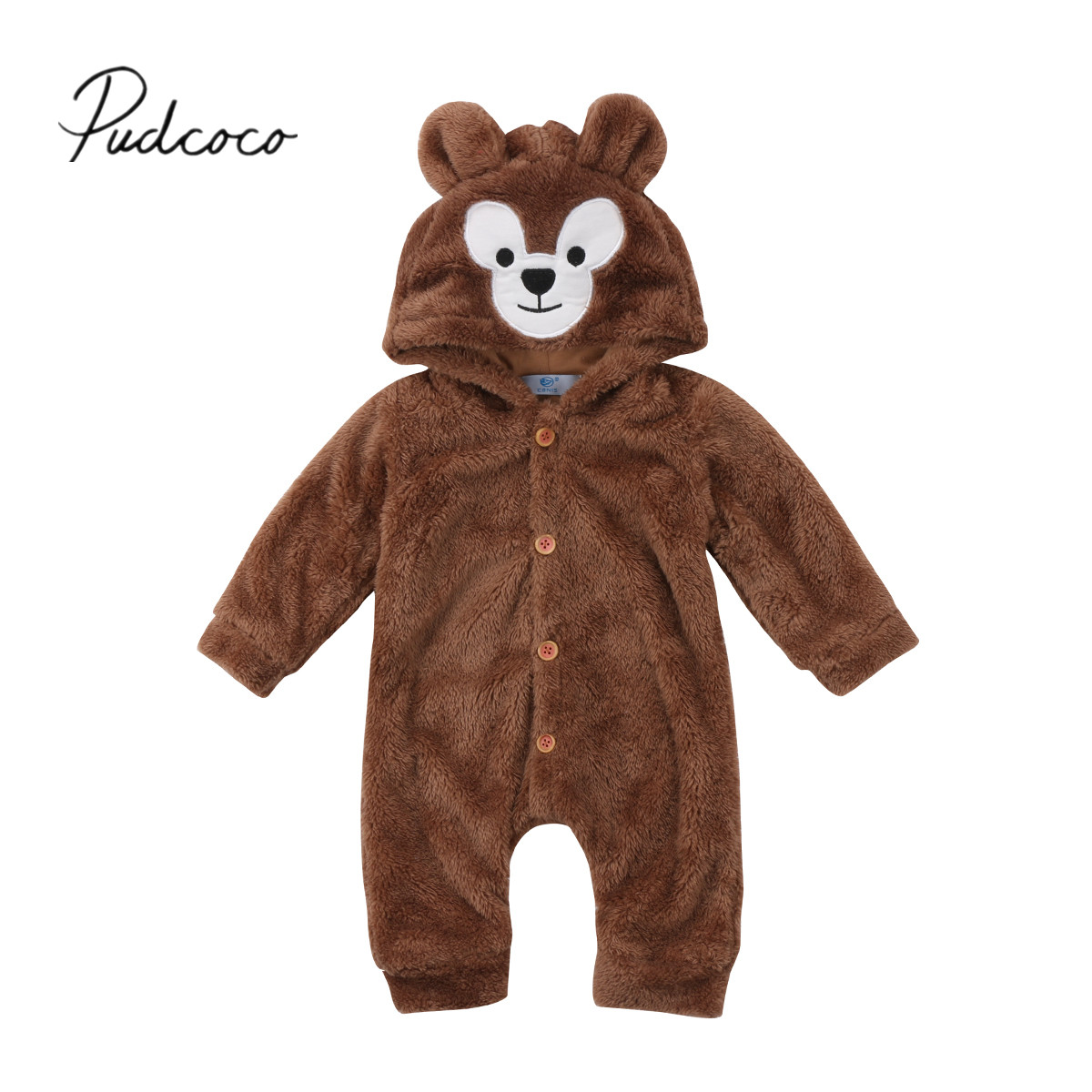 2018 Brand New Newborn Toddler Infant Baby Boys Girls Fleece Romper Hooded Jumpsuit Warm Cute Bear Outfits Winter Clothes 0-24M 6m 3years baby winter overall toddler warm velvet bear hooded rompers infant long pants kids girls boys jumpsuit pink blue