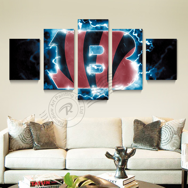 5 Panel Cincinnati Beng Sport Logo Wall Oil Painting Canvas Picture Art Home  Decor For Living
