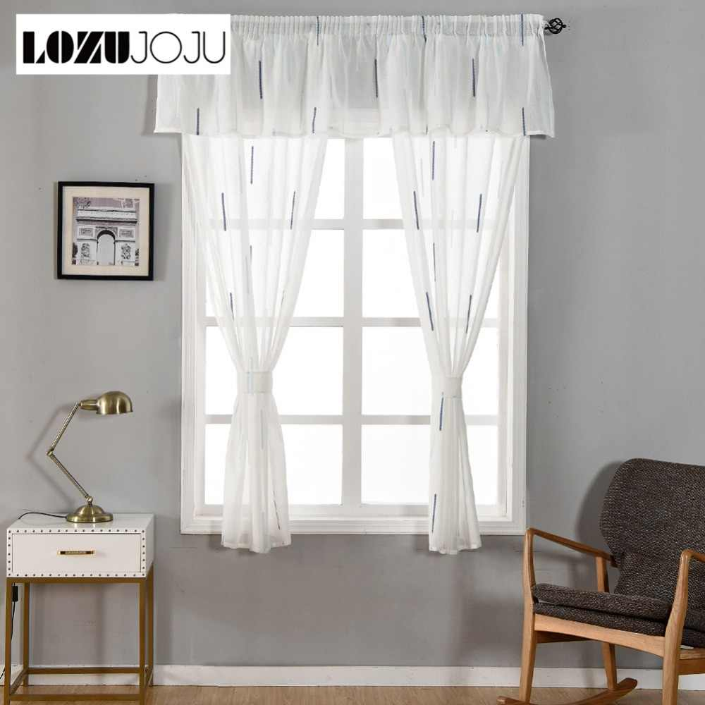 Lozujoju Stripe Tulle Drops Short 3 Beds Curtains Sets For Kitchen