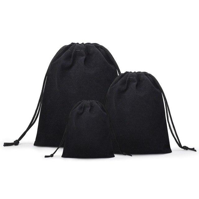 100 יח'\חבילה קטיפה שחור 3 גדלים תכשיטי מתנת שקיות Brace רצועת שקיות Wholesale10 * 12cm 7*9cm 5*7cm B-057-1