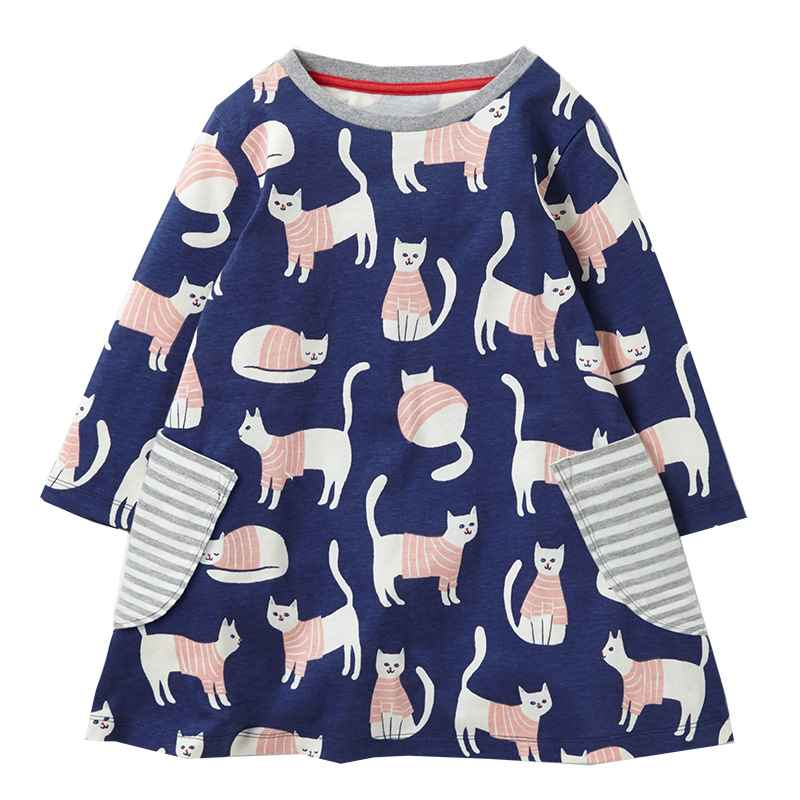 VIDMID baby girls long sleeve clothes kids anima dresses flower clothing children's 2-7 years cat dresses girls princess dresses
