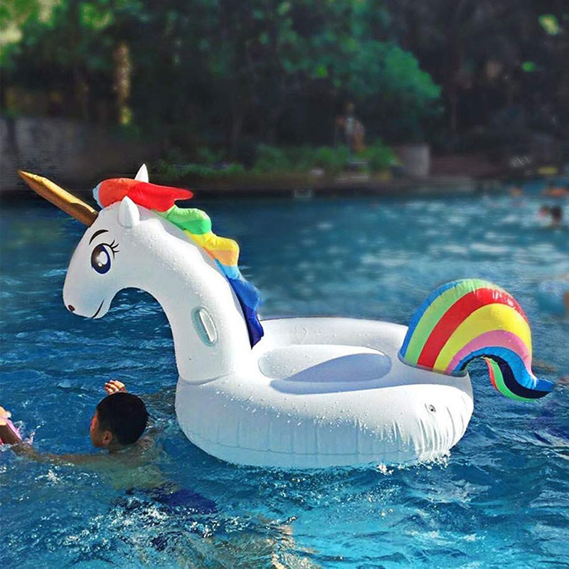 200cm Giant Unicorn Pool Float Inflatable Swimming Air Matteress Summer Water Toys Floating Ring Family Party Decoration in Swimming Rings from Sports Entertainment