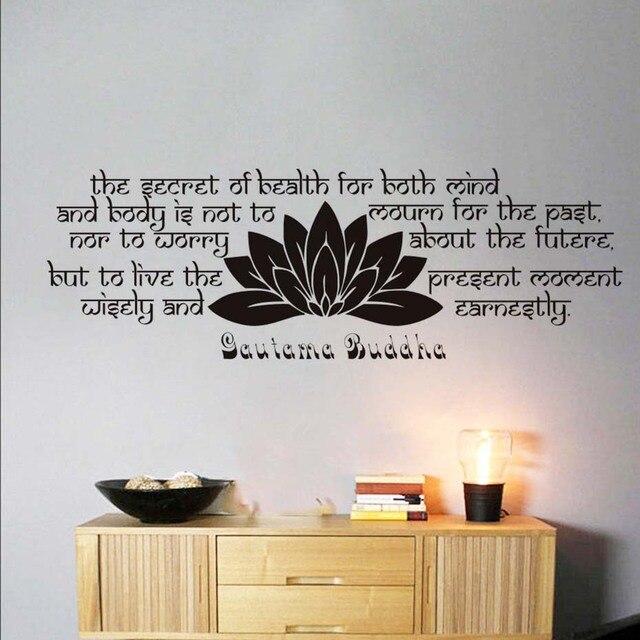 hoge kwaliteit slaapkamer hoofdeinde lotus muursticker boeddha gezegden tekst vinyl afneembare home decor sofa muur decoratieve