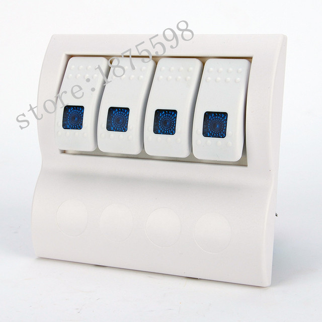 4 gang Waterproof Marine Boat Rv ON-OFF white Switch Panel/4 Gang Aluminium LED Rocker & Circuit Breaker switch panel