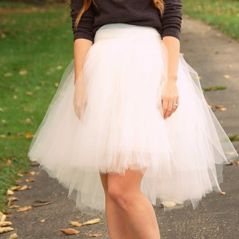 2015 New Fashion Tulle Skirt High Low Knee Length With Ruffles Tutu Skirt Women Solid Color Skirt Woman Skirt New Arrival