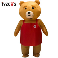 JYZCOS New Adult Teddy Bear Inflatable Costume Animal Cosplay Teddy Bear Mascot Halloween Costume Fancy Dress Suit for Men Women