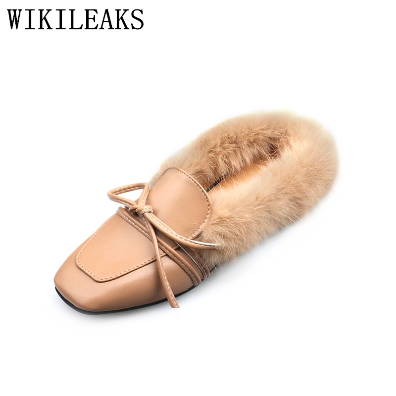 2017 leather ladies shoes woman slip on loafers women flats luxury brand fur mules zapatillas mujer casual slides sapatos mulher new designer women fur flats luxury brand slip on loafers zapatillas mujer casual ladies shoes pointed toe sapato feminino black